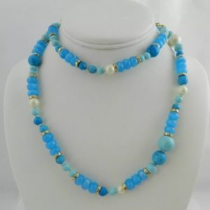 Kate Spade Womens Blue Gold Plated Beaded Necklace